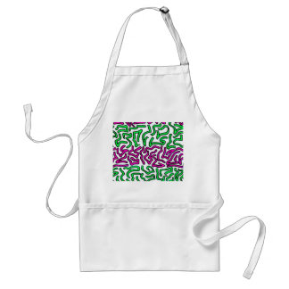 Pinkish Purple and Green Chunky Shapes doodle Apron