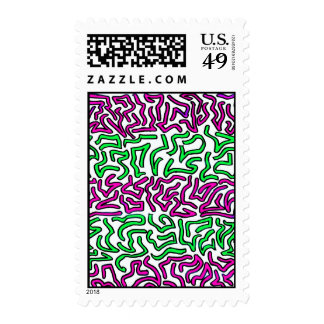 Pinkish Purple and Green Chunky Shapes doodle Postage Stamps