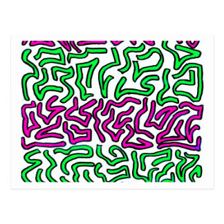 Pinkish Purple and Green Chunky Shapes doodle Post Card