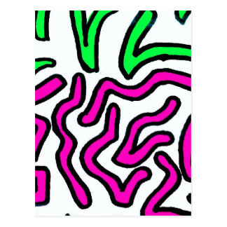 Pinkish Purple and Green Chunky Shapes doodle Post Cards