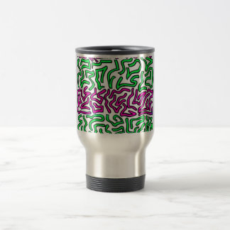 Pinkish Purple and Green Chunky Shapes doodle Travel Mug
