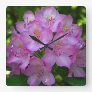 Pinkish purple Rhododendron Catawbiense Square Wall Clock
