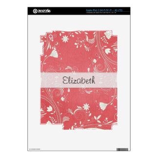 Pinkish Red Flower Swirl Stitched Vellum iPad 3 Skin