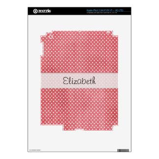 Pinkish Red Stars Stitched Vellum Skin For iPad 3