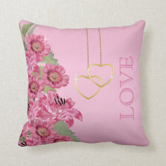 Pinkl Flowers on a Beautiful Pink Satin Throw Pillow