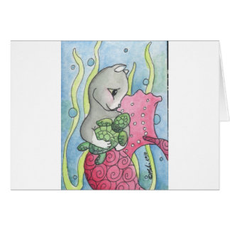 PinkMercat and turtle Greeting Cards