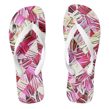 Beach Themed Pink'n'Purple Fractal Tile Pattern Flip flops