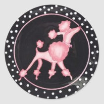 pinkpoodlebg classic round sticker