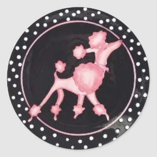 pinkpoodlebg classic round sticker