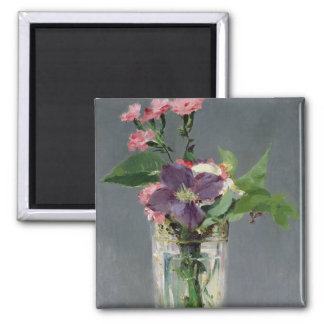 Pinks and Clematis in a Crystal Vase, c.1882 2 Inch Square Magnet