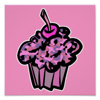pinks and purples camouflage cupcake poster