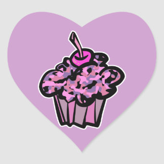 pinks and purples camouflage cupcake sticker