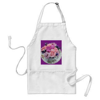 Pinks carnations in teacup adult apron