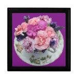 Pinks carnations in teacup keepsake boxes