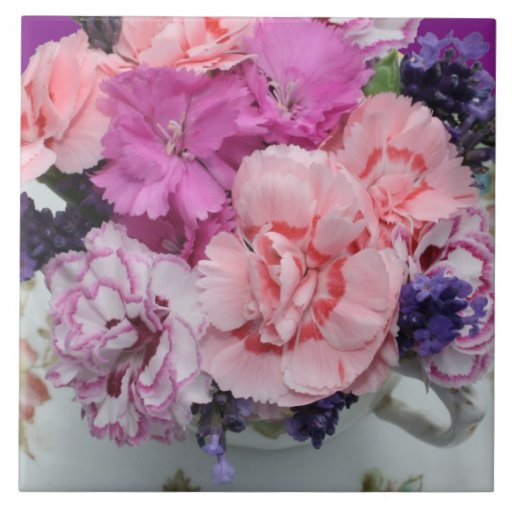 Pinks carnations in teacup large square tile