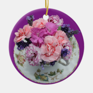 Pinks carnations in teacup christmas tree ornament
