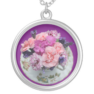 Pinks carnations in teacup round pendant necklace