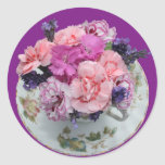 Pinks carnations in teacup round sticker