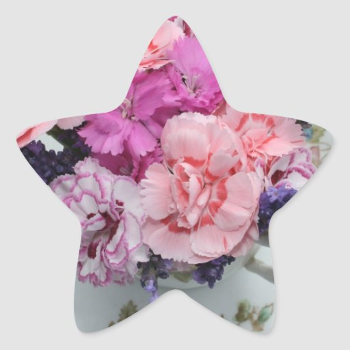 Pinks carnations in teacup star sticker