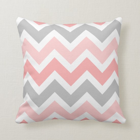 Pinks Gray White Zigzag Chevron Pattern Throw Pillow