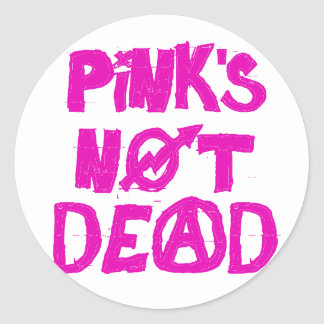 Pink's Not Dead Round Stickers