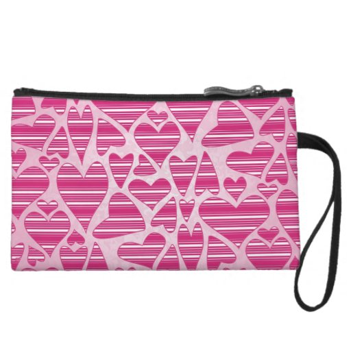 Pinks Striped Hearts Wristlet Clutch
