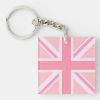 Pinks Union Jack/Flag Square Keychain