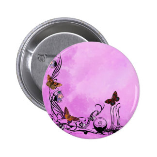 Pinks with butterflies 2 inch round button