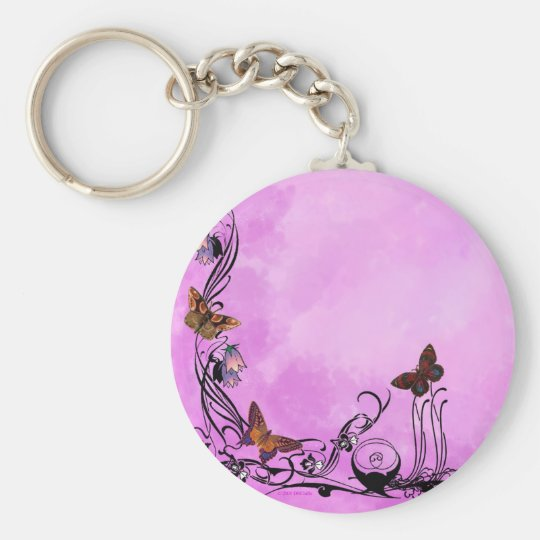 Pinks with butterflies keychain