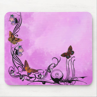 Pinks with butterflies mouse pad