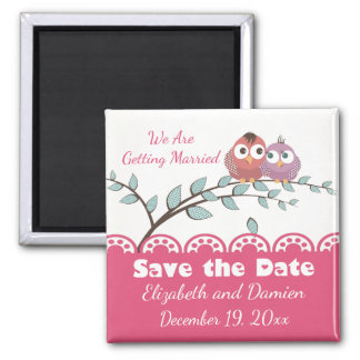 PinkSave The Date Lovebirds Wedding Engagement Magnet