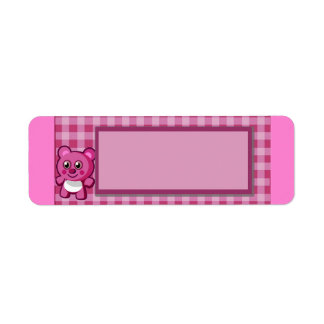 PinkTeddy Bear Girls 1st Birthday Return Address Label