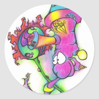 pinky alien classic round sticker