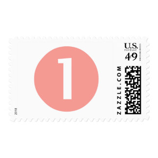 Pinky and White One Year Old Postage Stamp