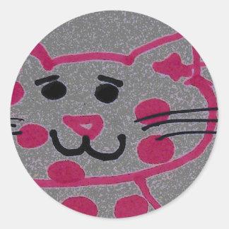 pinky cat classic round sticker