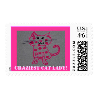 pinky cat Craziest Cat Lady stamps
