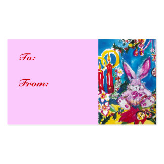 PINKY CHRISTMAS RABBIT Double-Sided STANDARD BUSINESS CARDS (Pack OF 100)