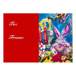 PINKY CHRISTMAS RABBIT LARGE BUSINESS CARDS (Pack OF 100)