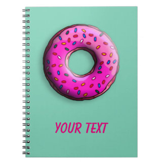 Pinky Donut with colorful sprinkles + your ideas Notebook