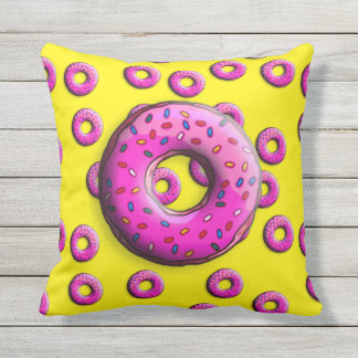 Pinky Donut with colorful sprinkles + your ideas Outdoor Pillow