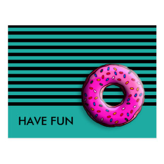 Pinky Donut with colorful sprinkles + your ideas Postcard