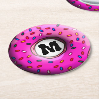 Pinky Donut with colorful sprinkles + your ideas Round Paper Coaster