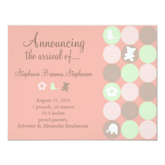 Pinky Dots Birth Announcement - Without Photo