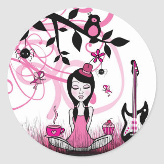 Pinky In Pinky Land Round Stickers