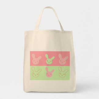 Pinky & Minty Bunnies Grocery Tote Bag