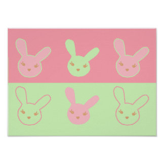 Pinky & Minty Bunnies Print