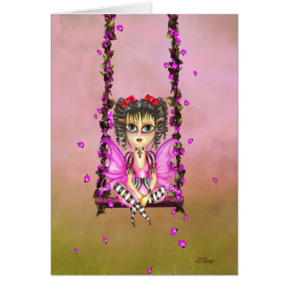 pinky on the swing. pixie fairy greeting card