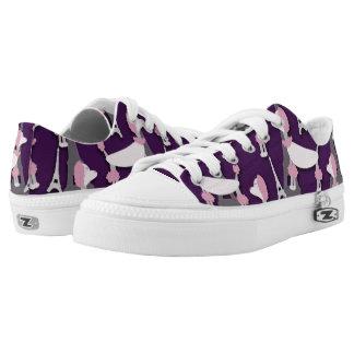 Pinky Paris Poodle on Purple Low-Top Sneakers