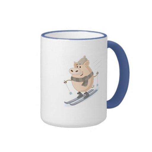 Pinky Piggy Design Ringer Mug