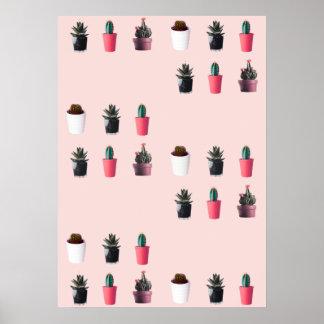 Pinky Retro Pop Art - Minimal Cacti Poster